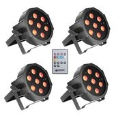 Cameo FLAT PAR CAN TRI 3W IR SET - Set of 4 PAR lights 7 x 3 W High Power TRI colour FLAT LED RGB in